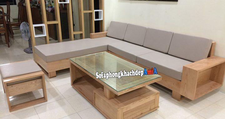 Hình ảnh Sofa gỗ chữ L phòng khách tích hợp phần đệm nỉ êm ái