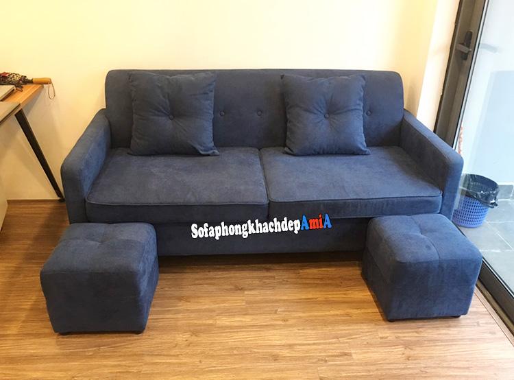 Hình ảnh Sofa văng nhỏ mini cho phòng khách nhỏ màu xanh cô ban độc đáo