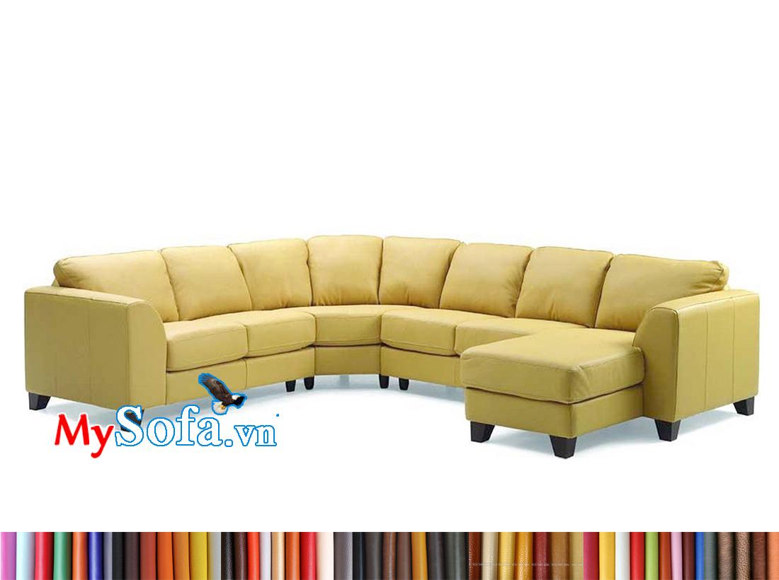 Mẫu ghế sofa nỉ màu vàng trẻ trung