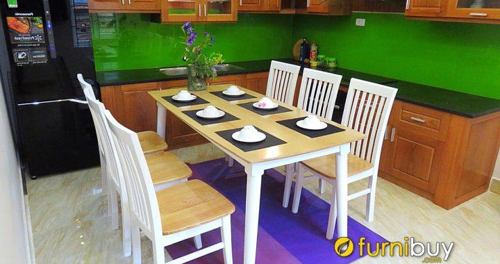 Bộ bàn ăn 6 ghế cherry giá rẻ màu trắng BA036