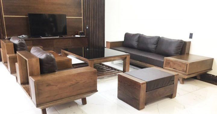 Sofa gỗ Tần bì giả màu gỗ Óc chó hiện đại