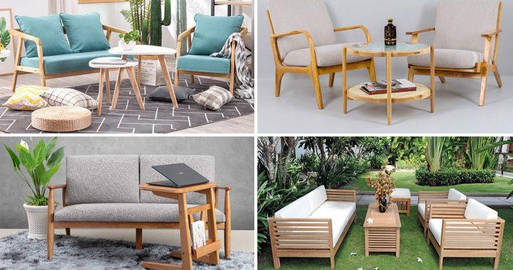 ghế sofa gỗ cho quán cafe