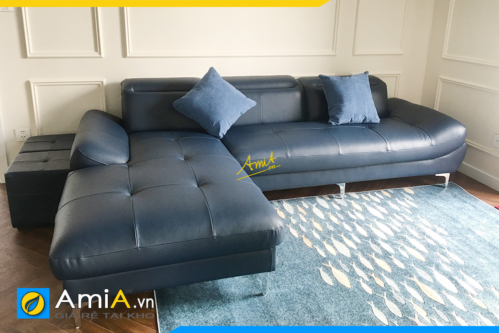 Ghế sofa góc chữ L bọc da màu xanh sang trọng kê phòng khách AmiA346